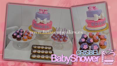 Tarta personalizada de fondant cupcakes cookies impresión comestible Mesa dulce BabyShower Laia's Cupcakes Puerto Sagunto