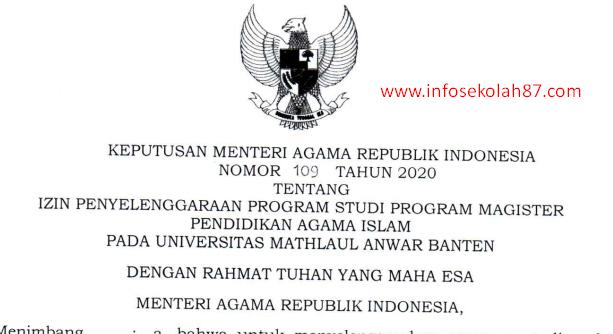 KMA Nomor 109 Tahun 2020 Tentang Izin Penyelenggaraan Program Studi Program Magister (S2) PAI UNMA Pandeglang Banten