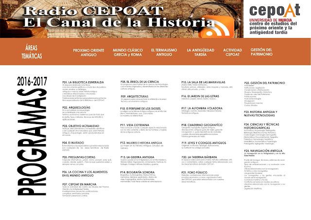 Programas 2016-2017. Radio CEPOAT: El Canal de la Historia.