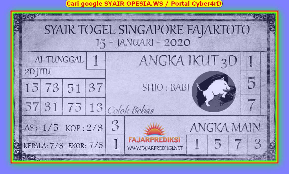 Kode syair Singapore Rabu 15 Januari 2020 151