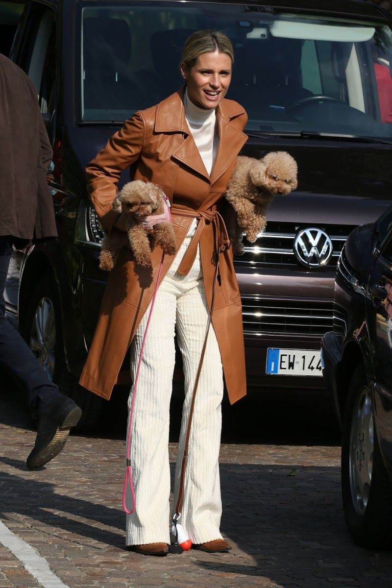 Michelle Hunziker Clicked Outside with Her Dogs in Bergamo 10 Oct -2020