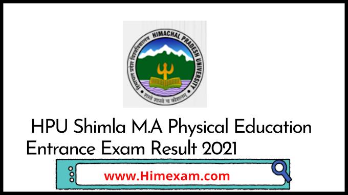 HPU Shimla M.A Physical Education Entrance Exam Result 2021