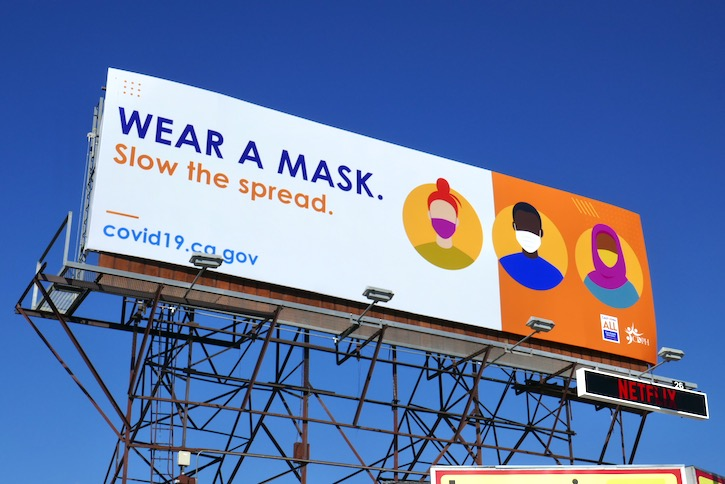Wear mask Slow Spread COVID19 billboard