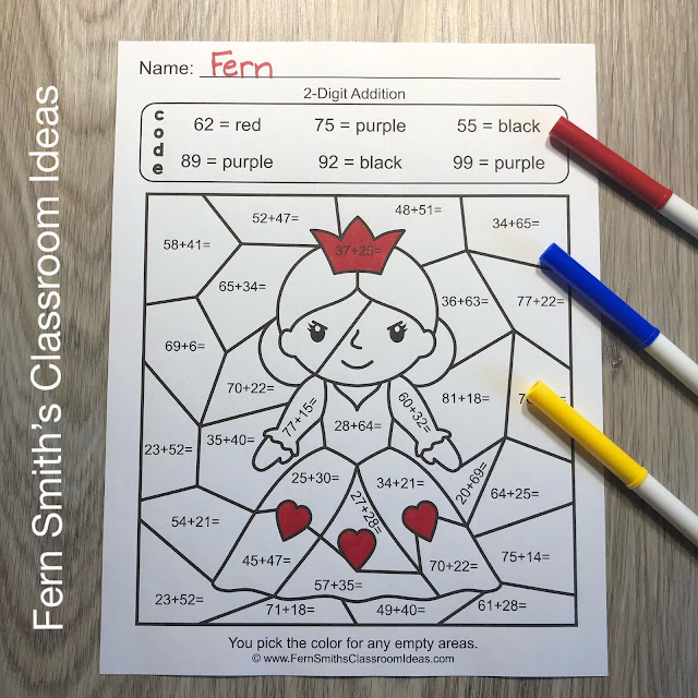 2nd Grade Go Math 4.6 2-Digit Addition Color By Numbers By #FernSmithsClassroomIdeas