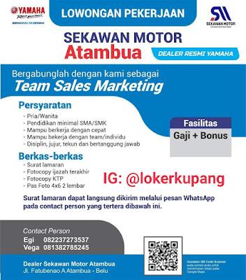 Lowongan Kerja Dealer Sekawan Motor Atambua (Yamaha) Sebagai Team Sales Marketing