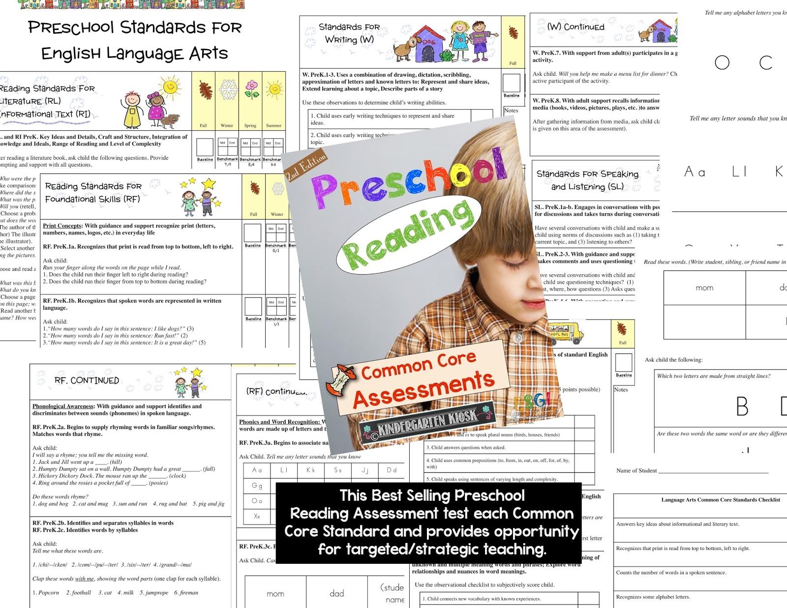 Kindergarten Kiosk Kindergarten And Preschool Math And Language Arts Common Core Assessments