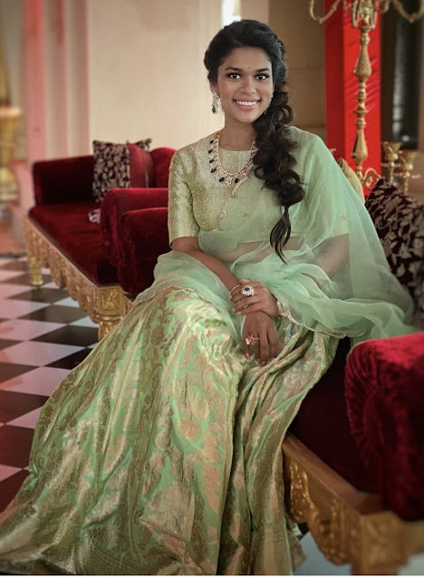 Sreeja Konidela in Diamond Emerald Set