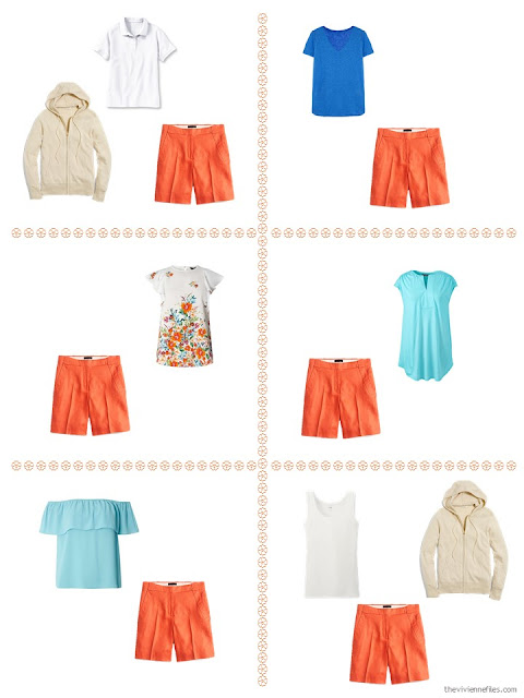 six ways to style orange shorts from a travel capsule wardrobe