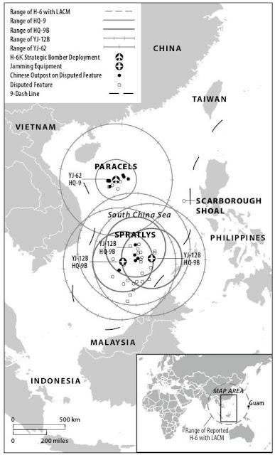 Phạm vi hoạt động của các tên lửa mà Trung Quốc cài đặt phi pháp tại Biển Đông