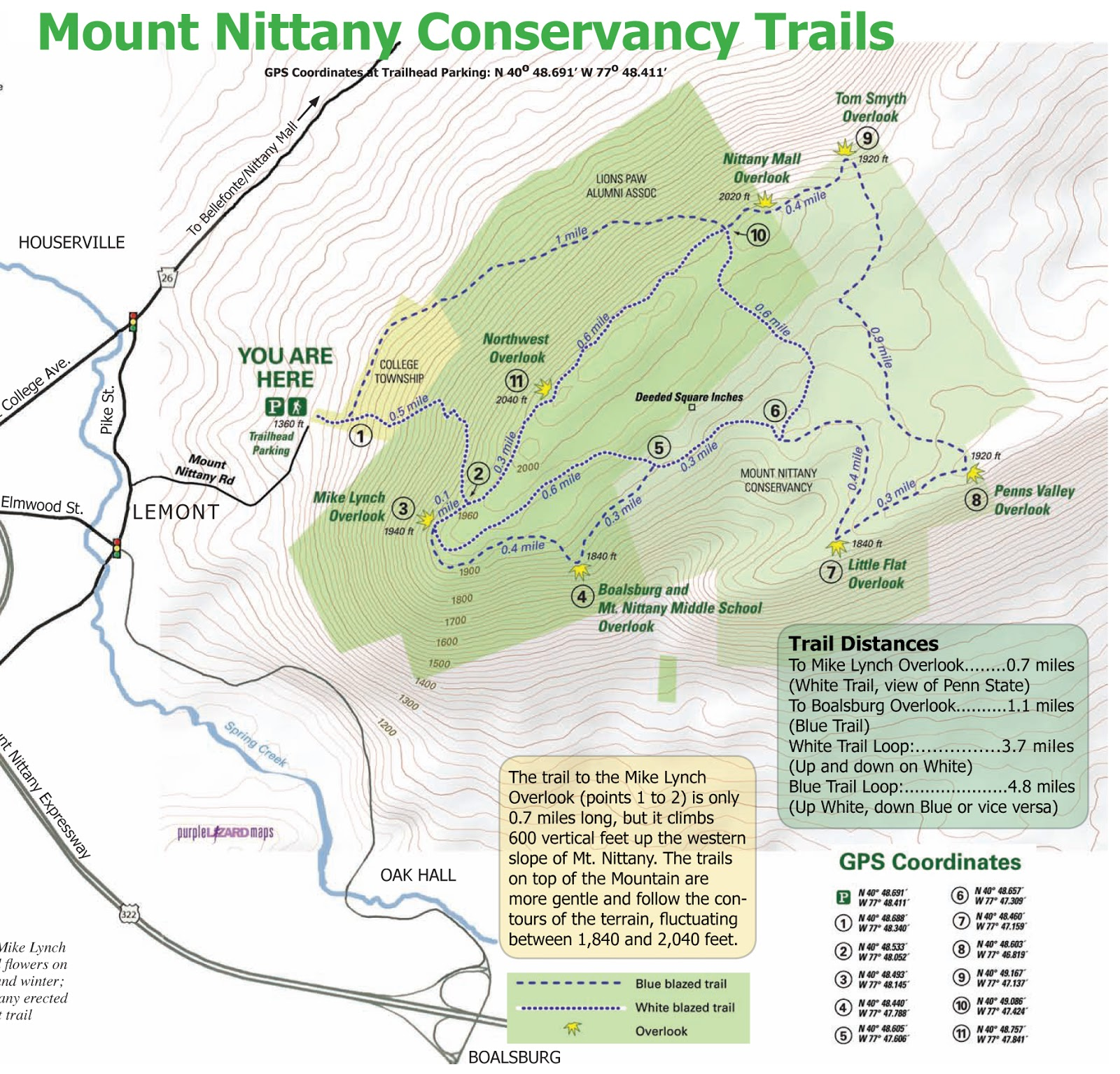 the trail system on mount nittany is simple for the most part especially if you re carrying the map shown above the mount nittany conservancy is good