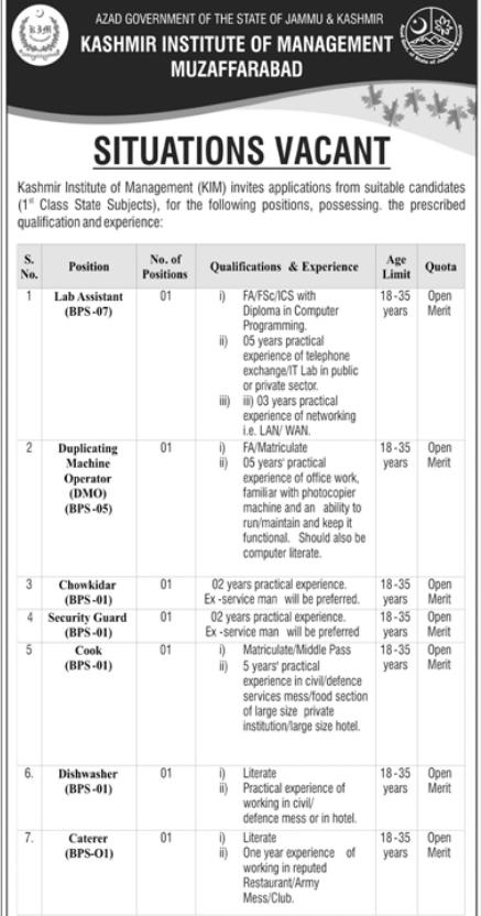 Advertisement for Kashmir Institute of Management Jobs