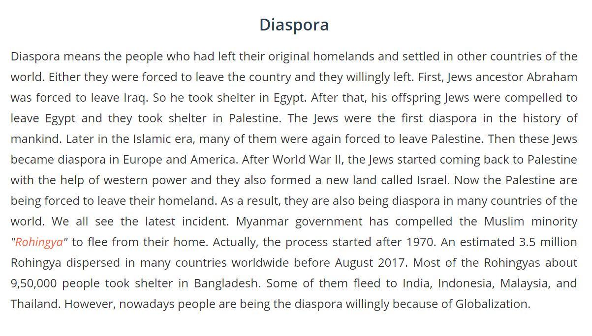 Diaspora Paragraph with Bangla Meaning