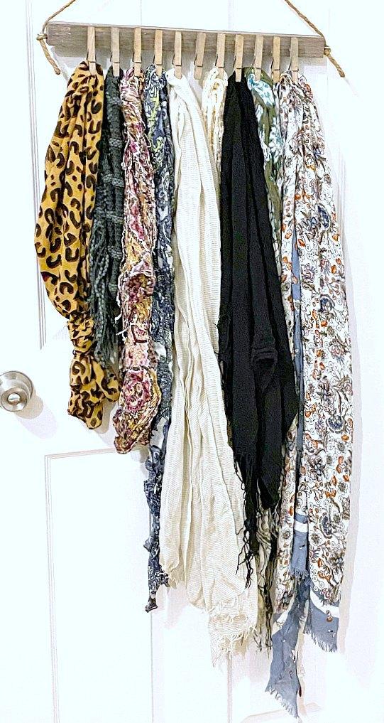 DIY Scarf Organization for the closet