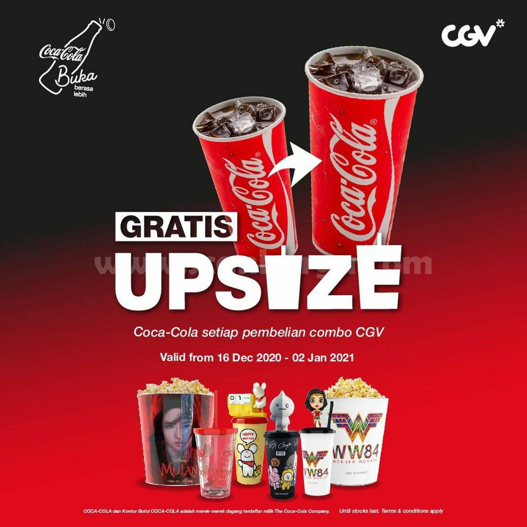 CGV Promo GRATIS UPSIZE Coca Cola Setiap Pembelian Combo CGV