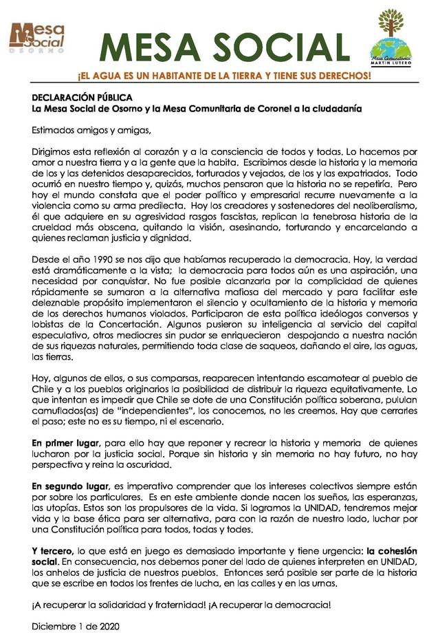 Mesa Social Osorno