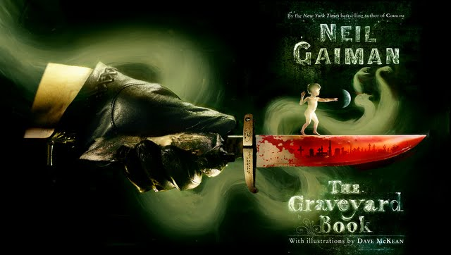 Wraparound cover to the Bloomsbury limited edition of 'The Graveyard Book' in shades of green with a toddler standing on a bloody knife held by a large gloved hand