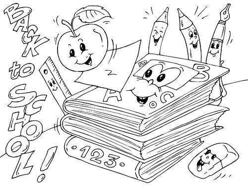 Dibujos Infantiles Escolares Para Colorear: Útiles Escolares Para Colorear Y Pintar