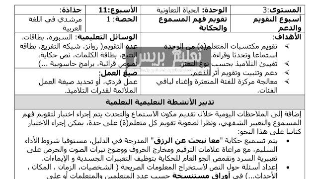 جذاذات التقويم و الدعم الوحدة الثانية مرشدي في اللغة العربية للمستوى الثالث ابتدائي