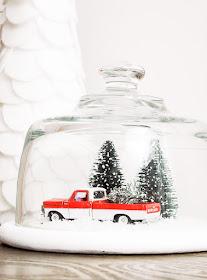 Thrifted glass cloche turned snow globe, diy snow globe