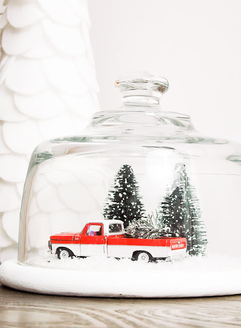 Thrifted glass cloche turned snow globe, diy snow globe