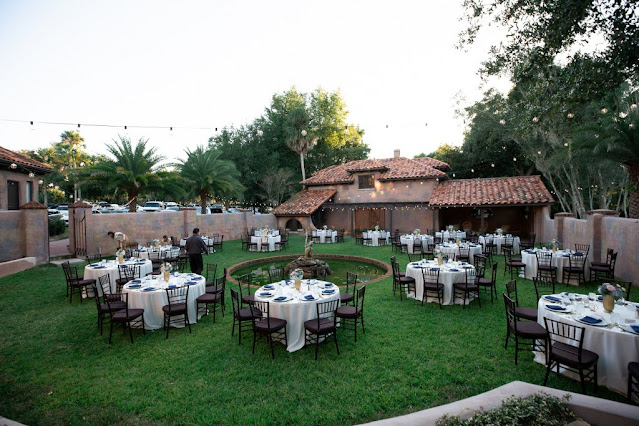 wedding reception on the lawn at the howey mansion