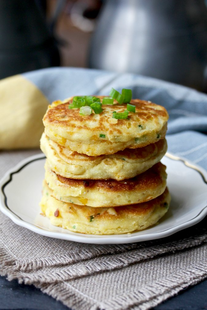Jalapeño Corn Cakes in a stack