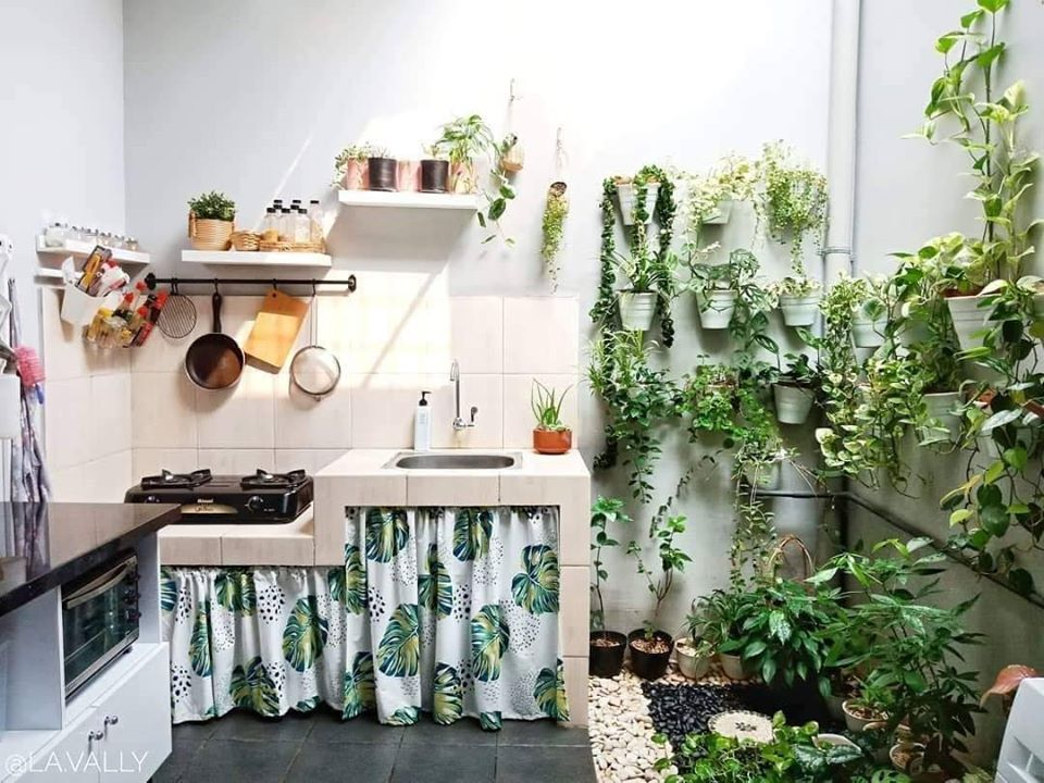 Inspirasi Kolong dapur dengan tirai