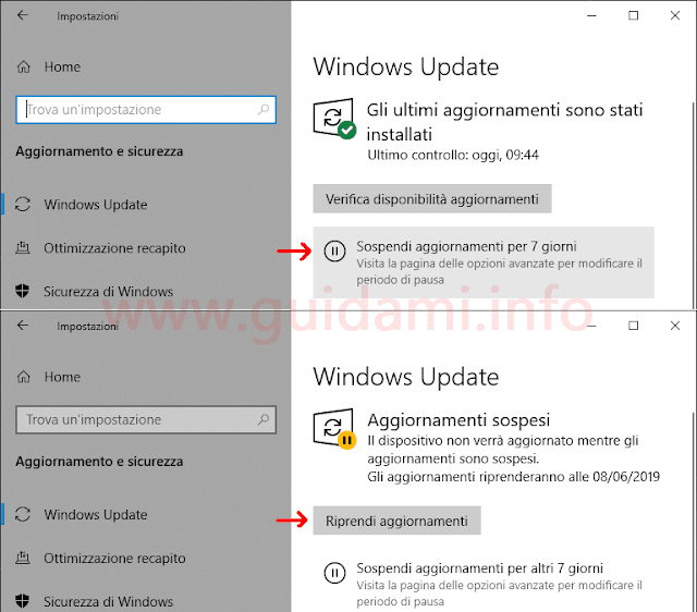 Windows Update in Windows 10 1903 pulsante Sospendi aggiornamenti per 7 giorni