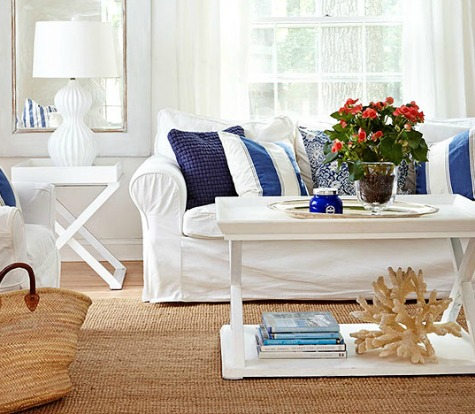 Living Room with White and Navy Blue Color Scheme