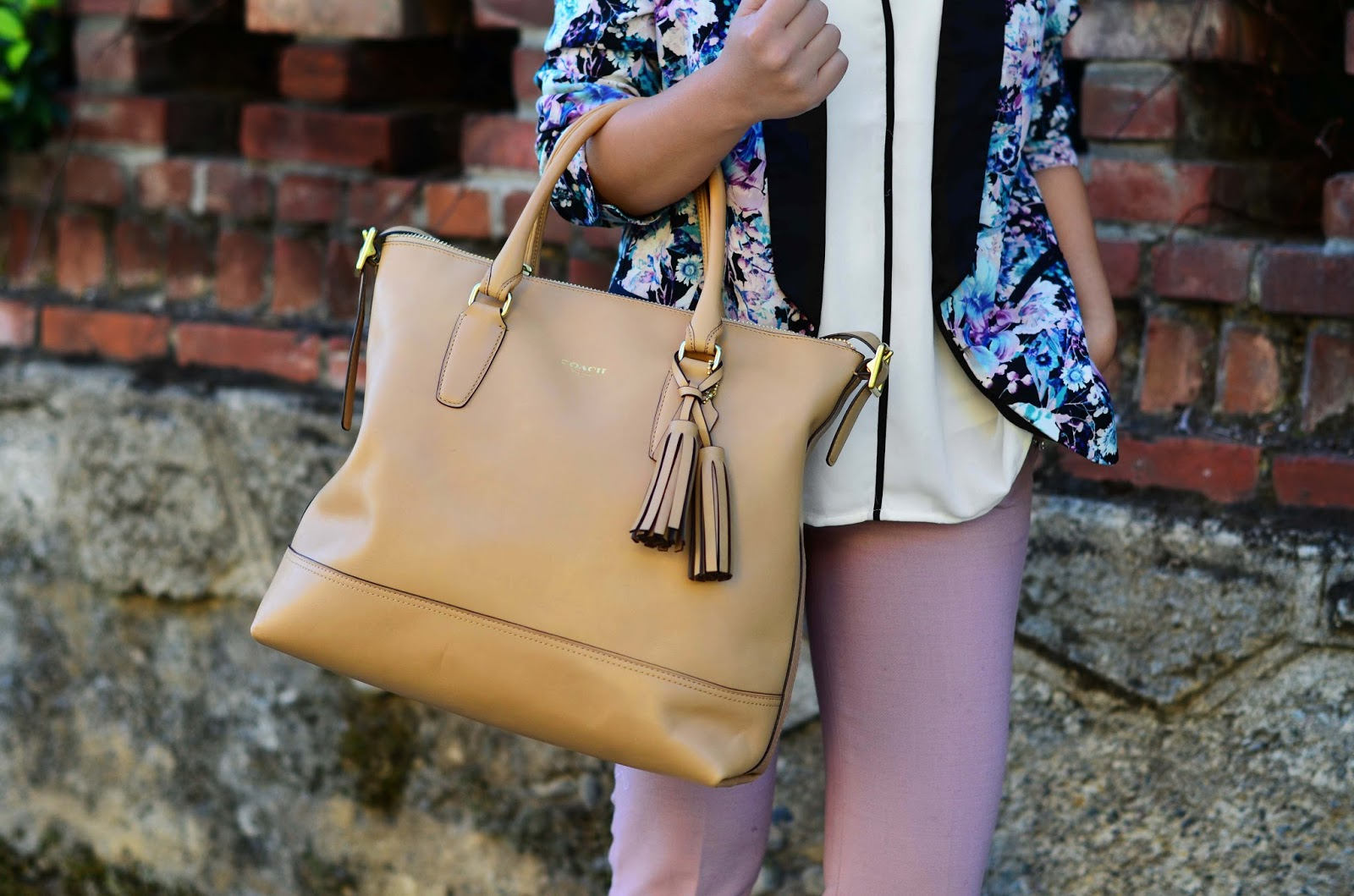 spring work outfit floral blush nude