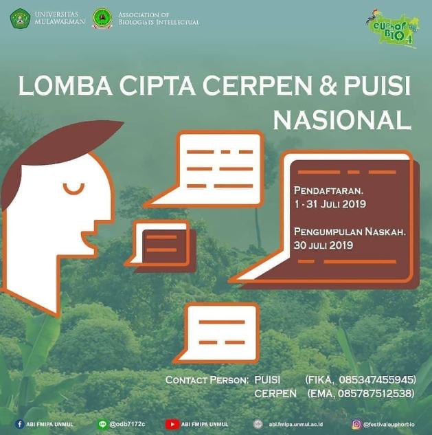 Lomba Menulis Puisi & Cerpen Nasional 2019 di Universitas Mulawarman