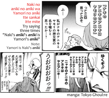 "Naki no aniki no aniki wa Yamori no aniki tte sankai itte mite, Try saying three times ""Naki's aniki's aniki's is Yamori's aniki."" Quote from the manga Tokyo Ghoul:re"