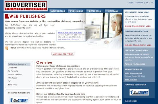 BidVertiser, how to earn from  BidVertiser