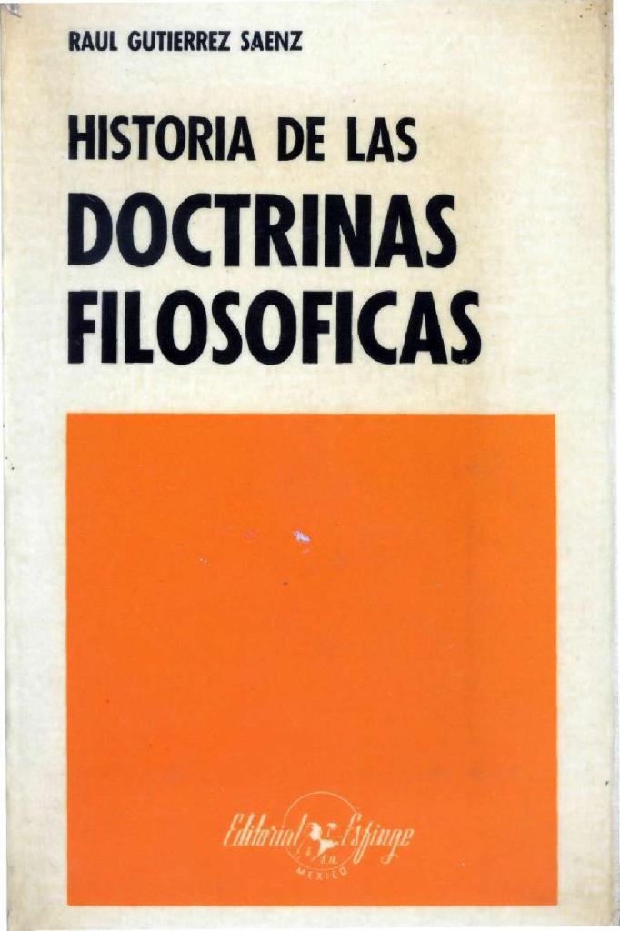 Historia de las doctrinas filosóficas – Raúl Gutiérrez Sáenz
