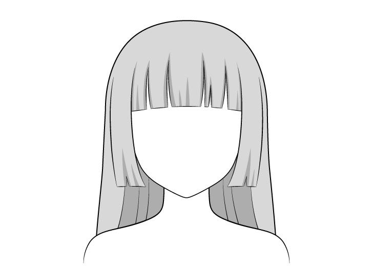 Anime hime memotong shading rambut