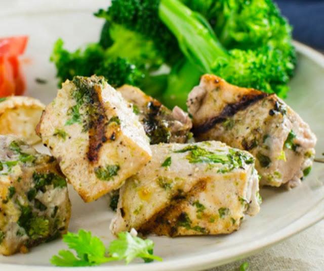 Garlicky Cilantro Lime Grilled Swordfish Kebabs