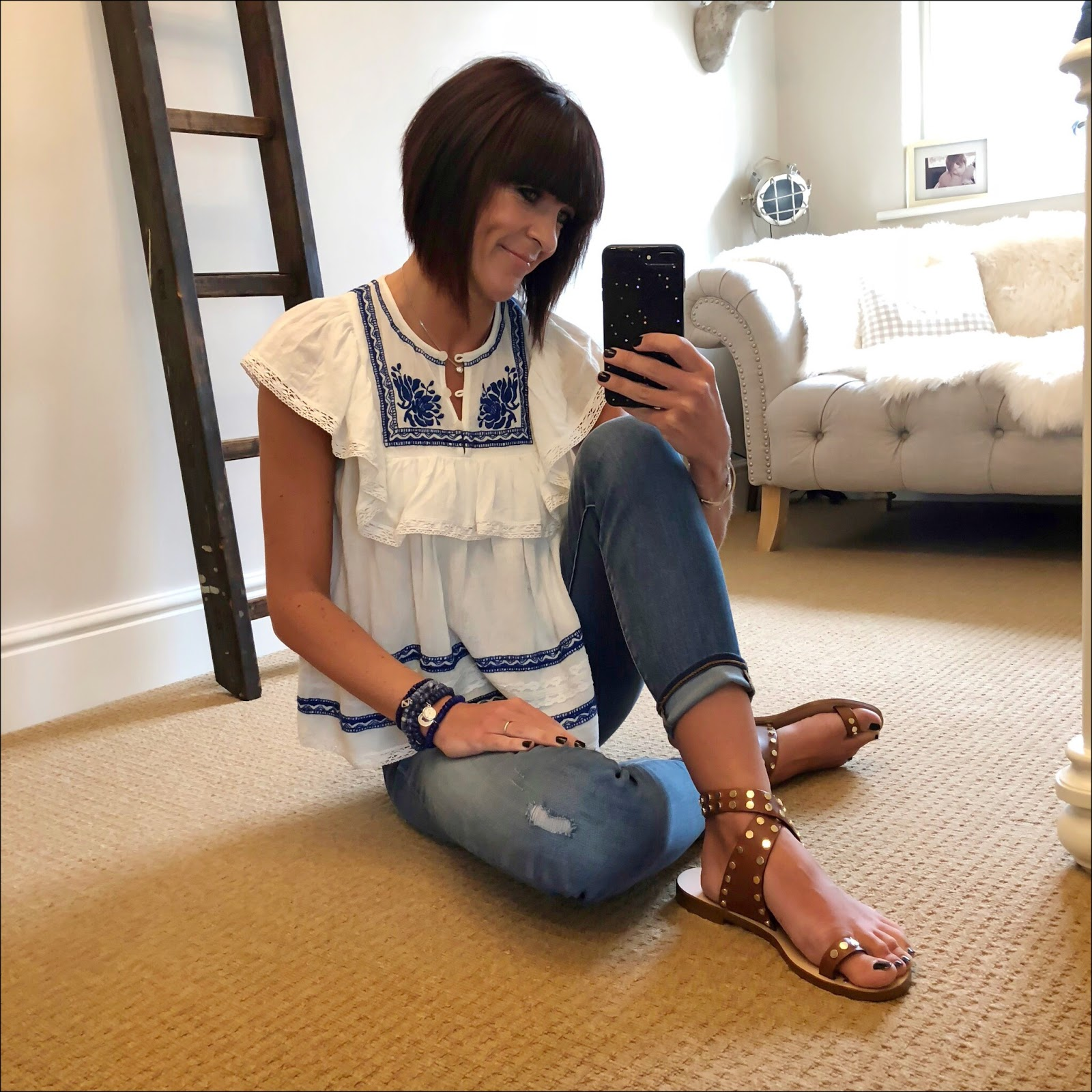 my midlife fashion, j crew 8 inch toothpick skinny jean in medium wash, basalt sarah summer studded sandals, sea embroidered top