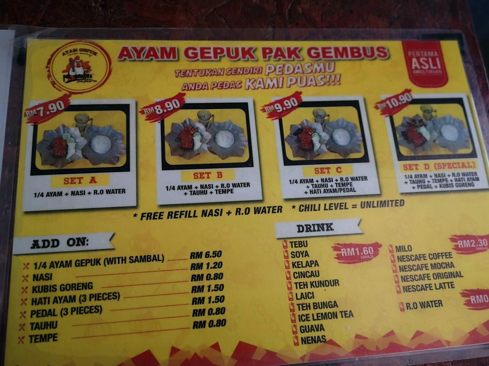 Food Road Trip Ayam Gepuk Pak Gebus Keramat Kl Malaysia
