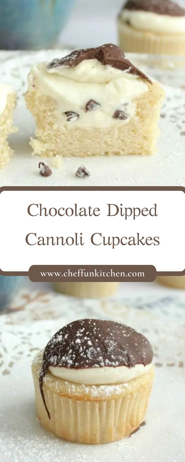 Chocolate Dipped Cannoli Cupcakes