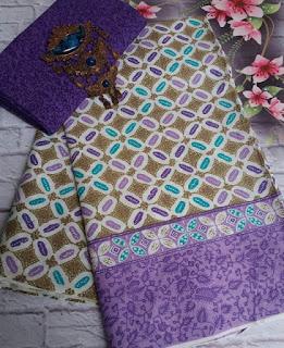 Kain Batik dan Embos 381 motif Kawung warna Ungu