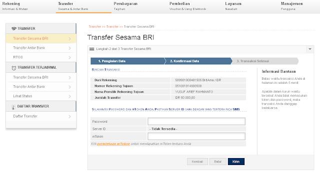 Inilah Cara Transfer Uang BRI Lewat Internet Banking