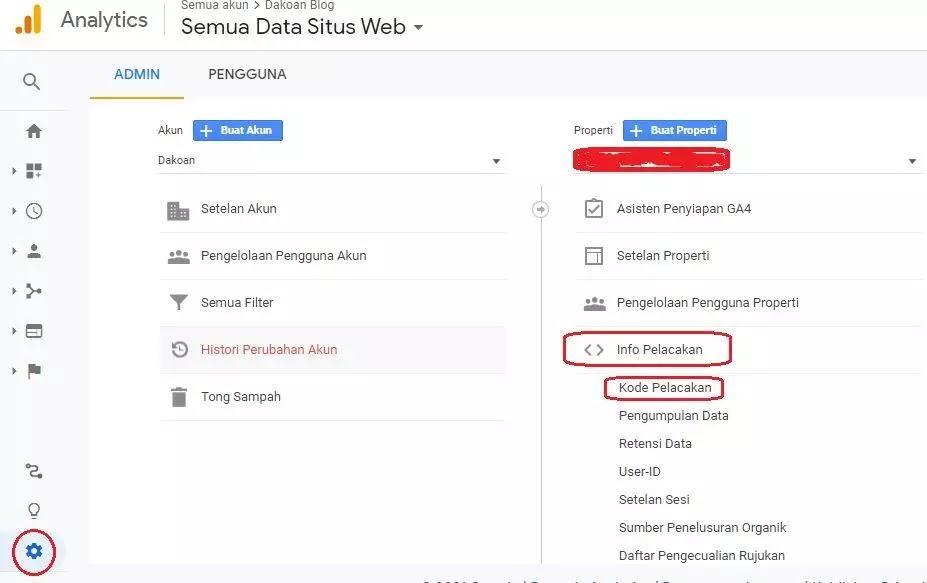 Info Pelacakan Google Analytics