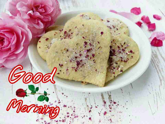 Beautiful good morning with heart shape cookies