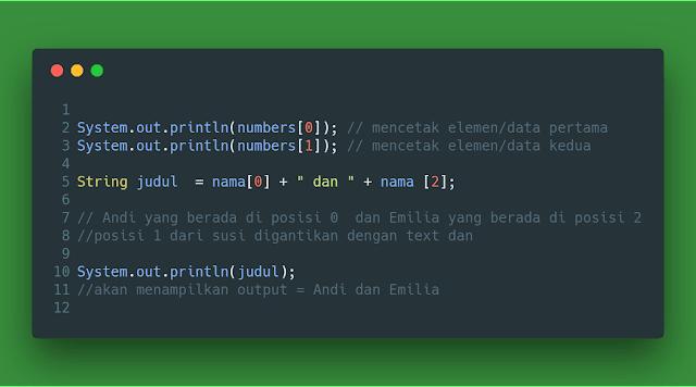 Contoh menampilkan output array java