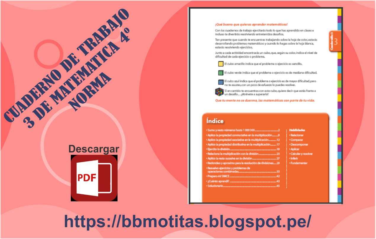 CUADERNO DE TRABAJO 3 DE MATEMATICA 4º - NORMA ~ MATERIALES ...