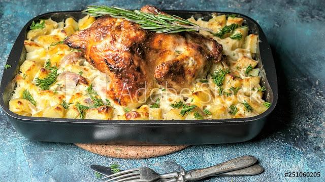 recipe for potato gratin with chicken truffle