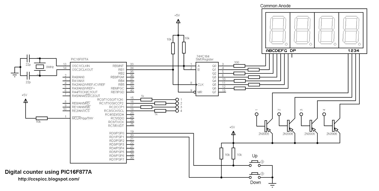 4 digit 7 segment display circuit