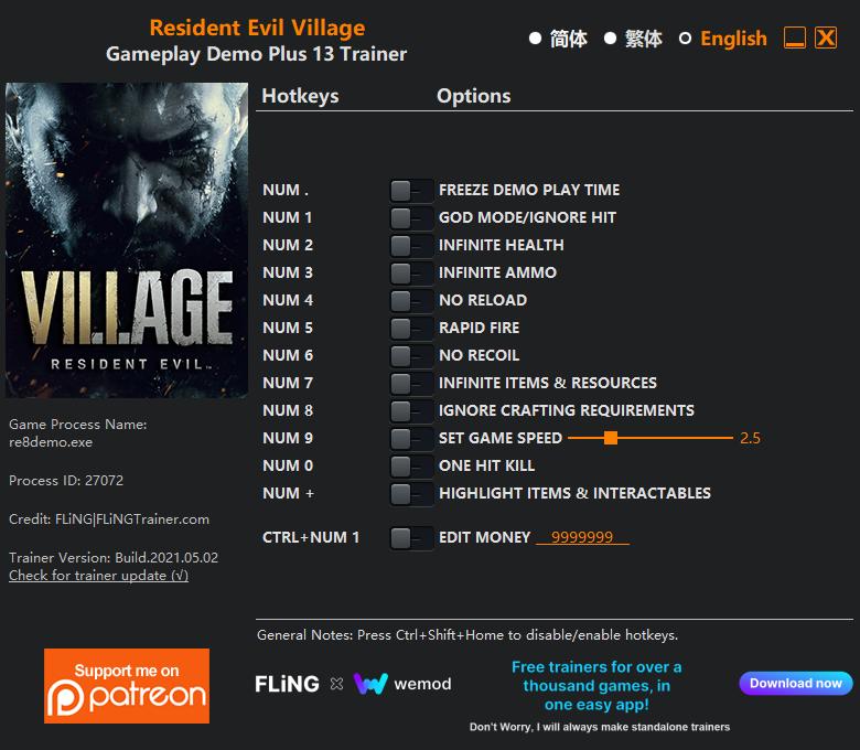 Resident Evil Village: Trainer (+13) [DEMO]
