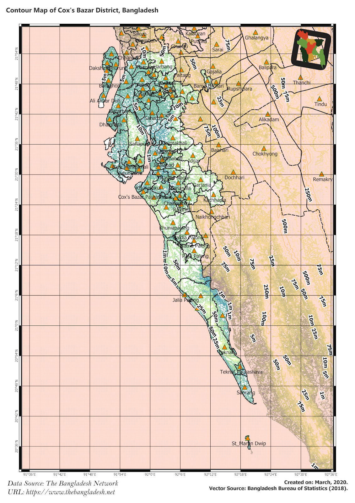 Elevation Map of Cox's Bazar District of Bangladesh