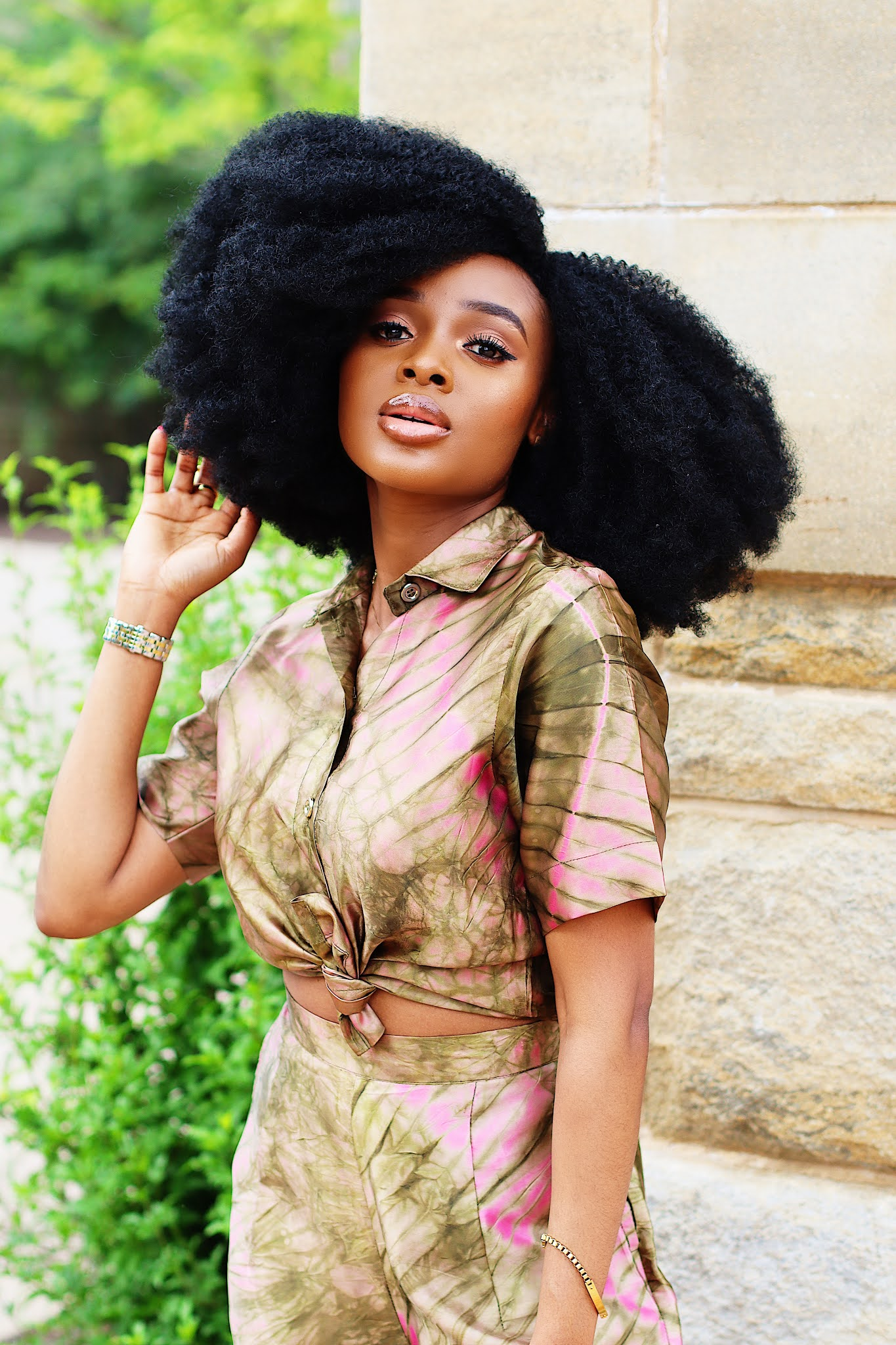 African inspired adire silk set